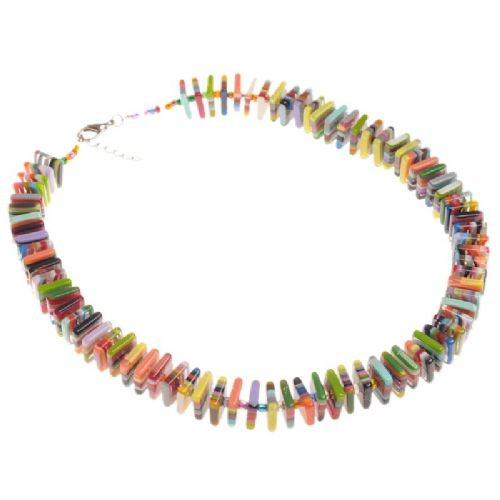 Jackie Brazil Liquorice Allsorts Flat Beads Short Necklace In Mix Colours
